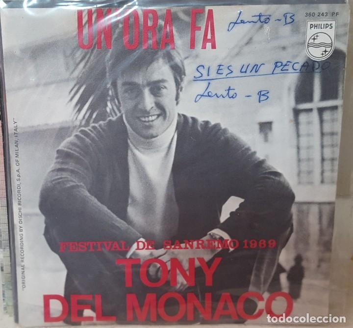 SINGLE / TONY DEL MONACO / UN'ORA FA / FESTIVAL DE SANREMO 1969 (Música - Discos - Singles Vinilo - Otros Festivales de la Canción)