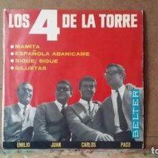 Discos de vinilo: ** LOS 4 DE LA TORRE - MAMITA / SILUETAS + 2 - EP 1965 - LEER DESCRIPCIÓN. Lote 160984922