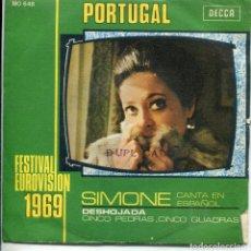 Dischi in vinile: SIMONE EN ESPAÑOL (EUROVISION) DESHOJADA / CINCO PIEDRAS....(SINGLE 1969). Lote 161033714