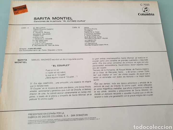 Discos de vinilo: LP. Sara Sarita Montiel. Canciones de peliculas: Varietes , El último cuplé. - Foto 4 - 161064573