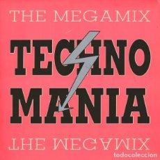 Discos de vinilo: TECHNO MANIA,THE MEGAMIX, MAXI-SINGLE MIXED, GERMANY 1991. Lote 161077142