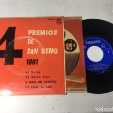 Discos de vinilo: ANTIGUO SINGLE EP ORIGINAL AÑOS 50/60 CUATRO PREMIOS DE SAN REMO 1961. Lote 161096242