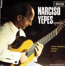 Discos de vinilo: NARCISO YEPES - JUEGOS PROHIBIDOS + FARRUCA + BALADA SINGLE 1965 SPAIN. Lote 161119158