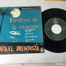 Discos de vinilo: ANTIGUO SINGLE EP ORIGINAL AÑOS 50/60 RAFAEL MENDOZA FESTIVAL DE LA CANCIÓN BENIDORM Y 1959. Lote 161160070