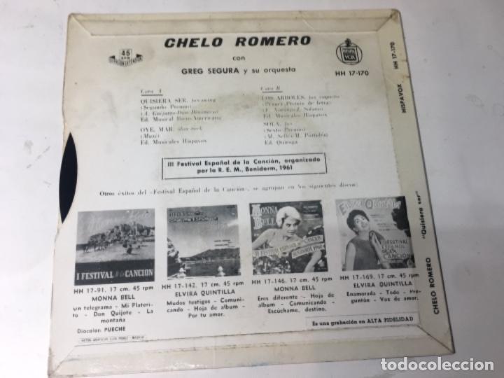 Discos de vinilo: Antiguo single ep original años 50/60 Chelo Romero Festival de la canción de Benidorm 1961 - Foto 3 - 161166390