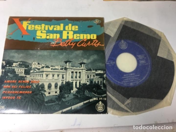 ANTIGUO SINGLE EP ORIGINAL AÑOS 50/60 FESTIVAL DE SAN REMO BETTY CURTIS (Música - Discos de Vinilo - EPs - Otros Festivales de la Canción)