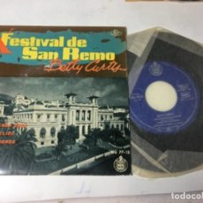 Discos de vinilo: ANTIGUO SINGLE EP ORIGINAL AÑOS 50/60 FESTIVAL DE SAN REMO BETTY CURTIS. Lote 161233950