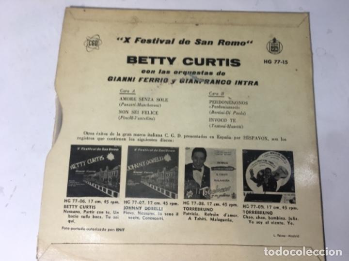 Discos de vinilo: Antiguo single ep original años 50/60 Festival de San remo betty curtis - Foto 3 - 161233950