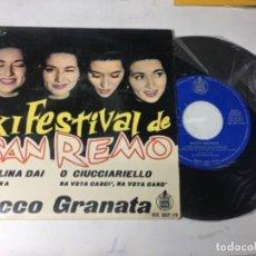 Discos de vinilo: ANTIGUO SINGLE EP ORIGINAL AÑOS 50/60 ROCCO GRANATA XI FESTIVAL DE SAN REMO AÑOS 60. Lote 161235394