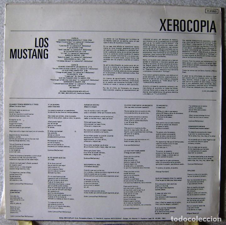 Discos de vinilo: LOS MUSTANG.XEROCOPIA...VERSIONES DE BEATLES...FIRMADO EN PORTADA...EX - Foto 2 - 161433922