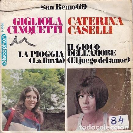 SAN REMO 69 (GIGLIOLA CINQUETTI - CATERINA CASELLLI) DIS60 (Música - Discos - Singles Vinilo - Otros Festivales de la Canción)
