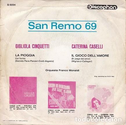 Discos de vinilo: SAN REMO 69 (GIGLIOLA CINQUETTI - CATERINA CASELLLI) dis60 - Foto 2 - 161452666