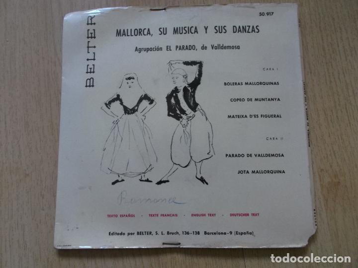 Discos de vinilo: MALLORCA, SU MÚSICA Y SUS DANZAS - EP BELTER 1960 - AGRUPACIÓN EL PARADO DE VALLDEMOSA - Foto 2 - 161537178