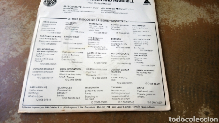 Discos de vinilo: Michael masser and mandrill, Ali bom-ba-ye. Single vinilo buen estado. - Foto 2 - 161749288