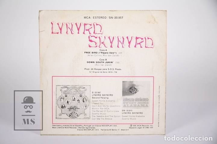 Discos de vinilo: Disco Single De Vinilo - Lynyrd Skynyrd / Free Bird - MCA - 1975 - Foto 3 - 161795722