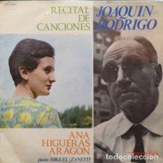 Discos de vinilo: JOAQUIN RODRIGO ANA HIGUERAS ARAGON MIGUEL ZANETTI - RECITAL DE CANCIONES - LP DE VINILO. Lote 161858566
