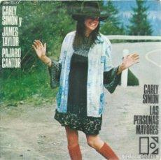 Discos de vinilo: CARLY SIMON Y JAMES TAYLOR, PAJARO CANTOR. ELEKTRA,1974 -SINGLE-. Lote 161928834