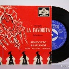 Discos de vinilo: DISCO EP DE VINILO - LA FAVORITA / SIMIONATO BASTIANINI - DECCA - AÑO 1959. Lote 162010978