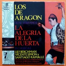 Discos de vinilo: LOS DE ARAGÓN / LA ALEGRÍA DE LA HUERTA - EP 3 TEMAS - VICENTE SIMÓN - MONTILLA-ZAFIRO - 1963. Lote 162014758