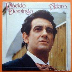 Discos de vinilo: PLACIDO DOMINGO - ADORO (ARMANDO MANZANERO) - SINGLE PROMOCIONAL, SIN CARA B - CBS - 1982-CASI NUEVO. Lote 162034194