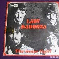 Discos de vinil: THE BEATLES SG EMI ODEON 1968 LADY MADONNA/ THE INNER LIGHT - VINILO EN MUY BUEN ESTADO. Lote 162134226