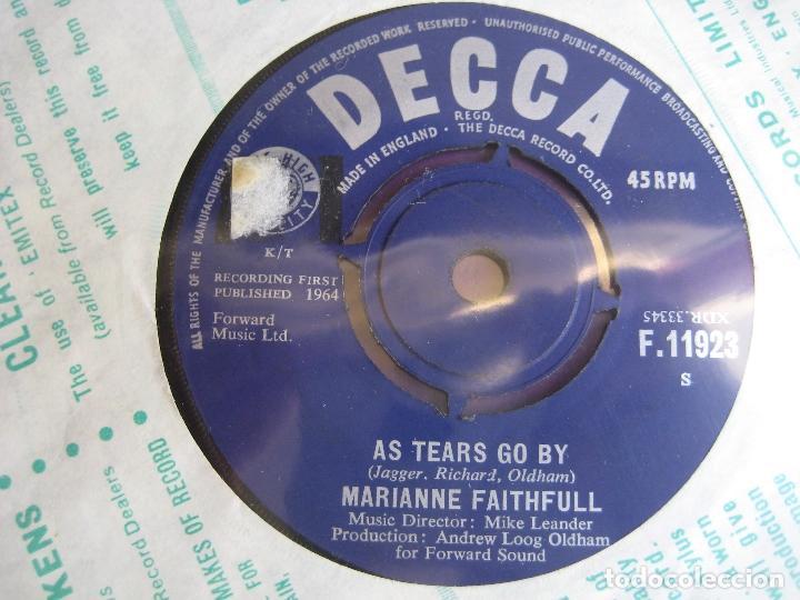 MARIANNE FAITHFULL SG DECCA 1964 - AS TEARS GO BY +1 ROLLING STONES (Música - Discos - Singles Vinilo - Pop - Rock Extranjero de los 50 y 60)