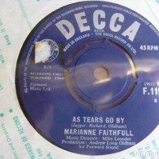Discos de vinilo: MARIANNE FAITHFULL SG DECCA 1964 - AS TEARS GO BY +1 ROLLING STONES . Lote 162134830
