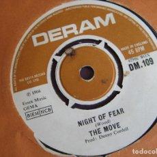 Discos de vinilo: THE MOVE SG DERAM 1966 NIGHT OF FEAR / DISTURBANCE - MOD PSICODELIA - GARAGE ROCK. Lote 162138438