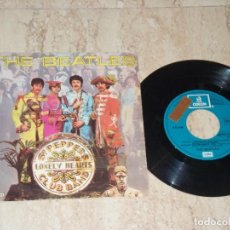 Discos de vinilo: THE BEATLES?–SGT. PEPPER'S LONELY HEARTS CLUB BAND-SINGLE-SPAIN-1978ODEON ?10C006-006804-PROMOCIONAL. Lote 162156234