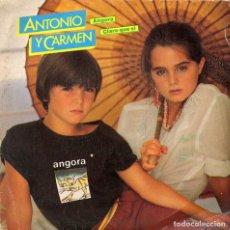 Discos de vinilo: ANTONIO Y CARMEN. ANGORA/CLARO QUE SÍ (LOS HIJOS DE ROCÍO DURCAL Y JUNIOR). Lote 162266838