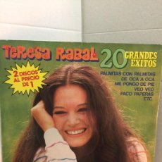 Discos de vinilo: DISCO DOBLE DE TERESA RABAL - 20 GRANDES EXITOS. Lote 196075625