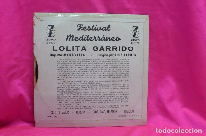 Discos de vinilo: 2º festival de la canción mediterránea, 1960, lolita garrido, s.o.s.amor, oscura, ciao ciao mi amor - Foto 2 - 162629990