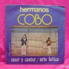 Discos de vinilo: HERMANOS COBO, COSER Y CANTAR, ARTE BÉTICO, OLYMPO, 1977.. Lote 162639118