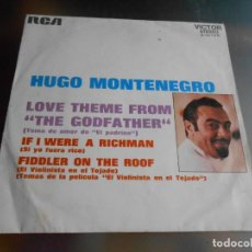 Discos de vinilo - HUGO MONTENEGRO, SG, LOVE THEME FROM THE GODFATHER + 1, AÑO 1972 - 162758386