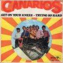 Discos de vinilo: SINGLE - CANARIOS - GET ON YOUR KNEES - TRYING SO HARD - BARCLAY - SONOPLAY - AÑO 1968.. Lote 162863054