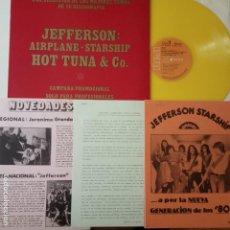 Discos de vinilo: JEFFERSON AIRPLANE- STARSHIP - HOT TUNA- SPANISH PROMO LP 197- YELLOW VINYL +DOSSIERS RADIO- NUEVO.. Lote 162918142