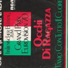 Discos de vinilo: 45 GIRI GIANNI MORANDI OCCHI DI RAGAZZA /T'AMO CON TUTTO IL CUORE GRAND PRIX ITALY . Lote 163070670