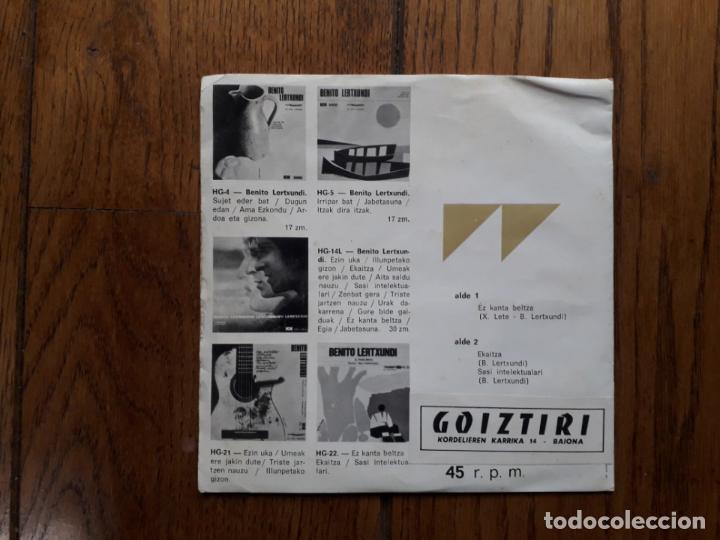 Discos de vinilo: Benito lertxundi - ez kanta beltza + ekaitza + sasi intelektualari - edición goiztiri - Foto 2 - 163377482