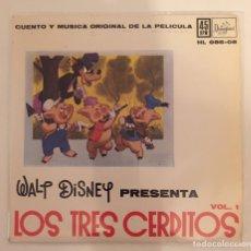 Discos de vinilo: LOS TRES CERDITOS-CUENTO Y MÚSICA ORIGINAL DE LA PELÍCULA/ VOL.1/EP 1962 HISPAVOX,ESPAÑA. Lote 163428593