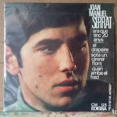 Discos de vinilo: ** JOAN MANUEL SERRAT - ARA QUE TINC 20 ANYS + 3 - EP 1966 - LEER DESCRIPCIÓN. Lote 163469794