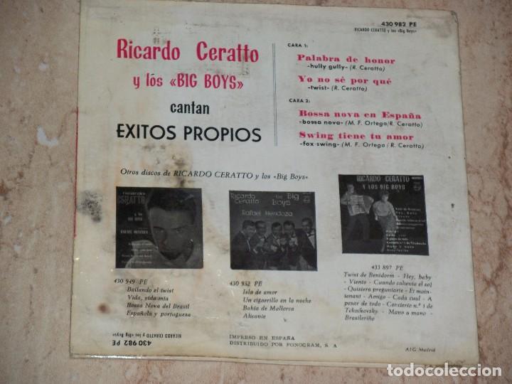 Discos de vinilo: RICARDO CERATTO Y LOS BIG BOYS PALABRA DE HONOR + 3 PHILIPS 1964 # TWIST BOSSA - Foto 2 - 163585002
