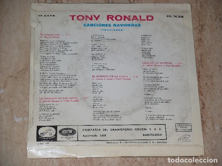 Discos de vinilo: TONY RONALD EL FORASTERO/EL BURRITO DE LA CUEVA +2 EP 1966 CANCIONES NAVIDEÑAS FOLK SONGS-PROMOCIONA - Foto 2 - 163585830