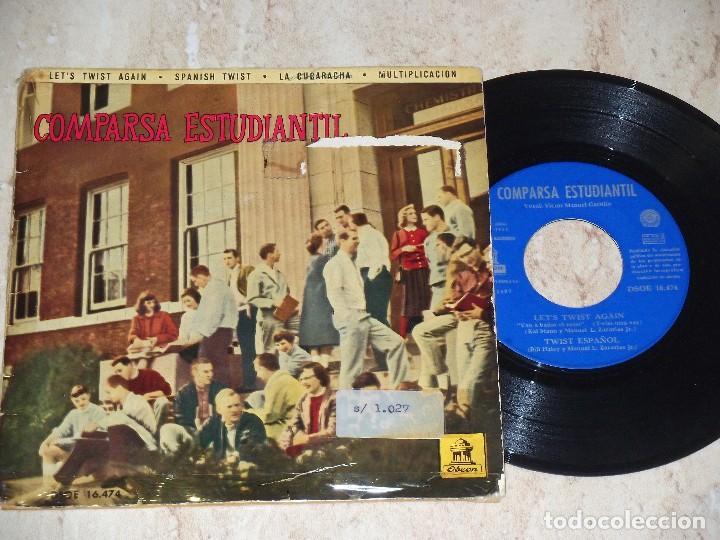 COMPARSA ESTUDIANTIL / LET'S TWIST AGAIN / SPANISH TWIST / LA CUCARACHA / MULTIPLICACION / 1962 (Música - Discos de Vinilo - EPs - Grupos Españoles 50 y 60)