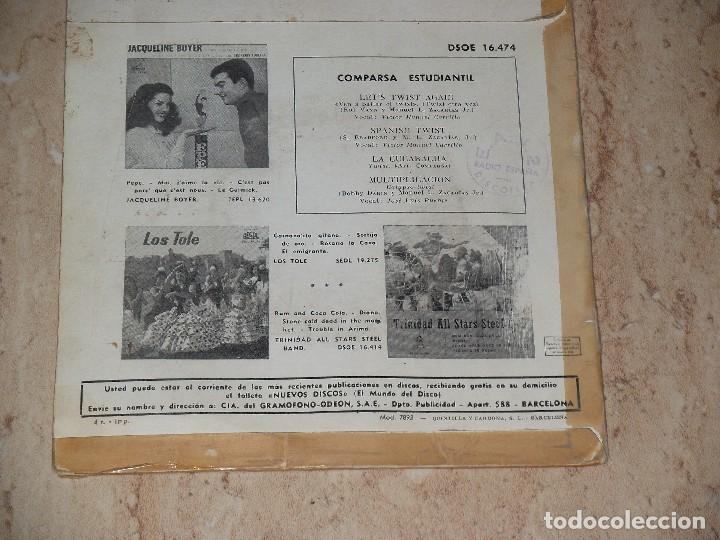 Discos de vinilo: COMPARSA ESTUDIANTIL / LET'S TWIST AGAIN / SPANISH TWIST / LA CUCARACHA / MULTIPLICACION / 1962 - Foto 2 - 163661682