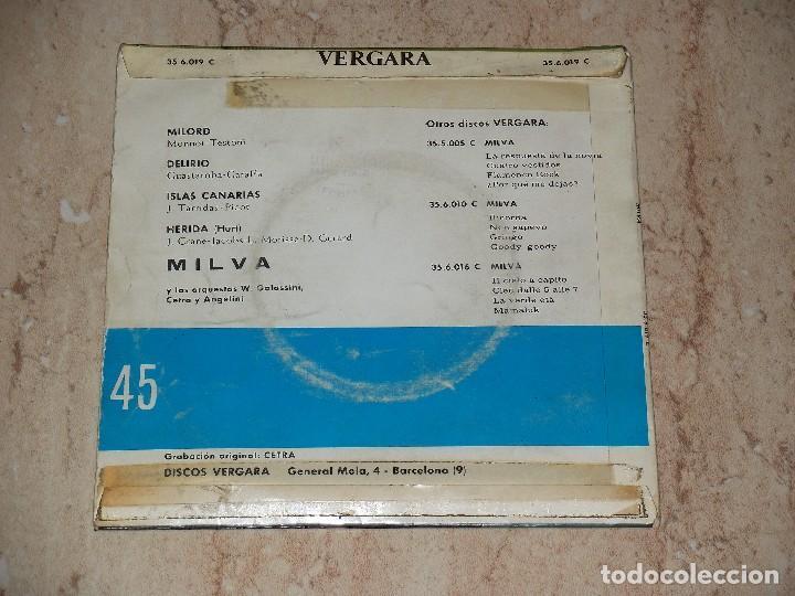 Discos de vinilo: MILVA EP MILORD + 3 ESPAÑA 1963 - Foto 2 - 163666466
