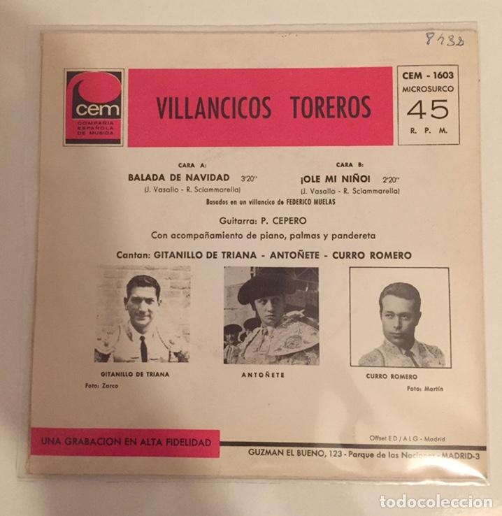 Discos de vinilo: VILLANCICOS TOREROS-GITANILLO DE TRIANA,ANTOÑETE,CURRO ROMERO/SINGLE 1967 CEM,ESPAÑA - Foto 3 - 163718718