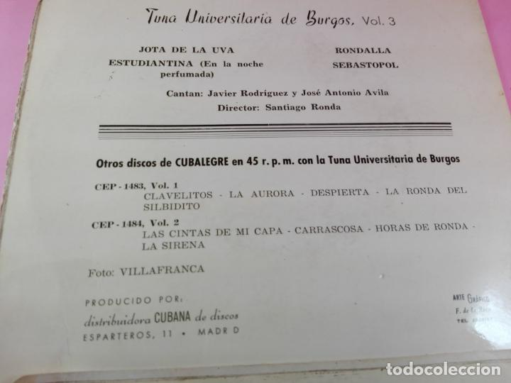 Discos de vinilo: VINILO-SINGLE-TUNA UNIVERSITARIA DE BURGOS-VOLUMEN 3-1962-CUBALEGRE-BUEN ESTADO-VER FOTOS - Foto 3 - 163731446