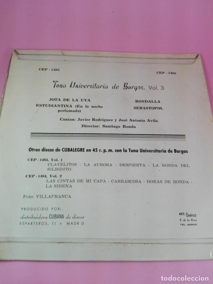 Discos de vinilo: VINILO-SINGLE-TUNA UNIVERSITARIA DE BURGOS-VOLUMEN 3-1962-CUBALEGRE-BUEN ESTADO-VER FOTOS - Foto 8 - 163731446