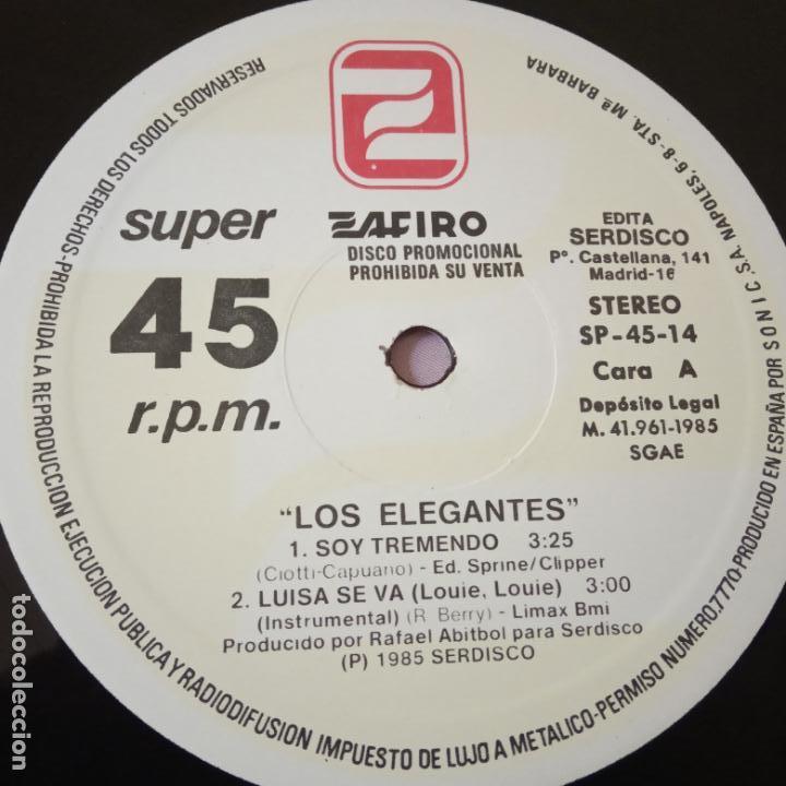 Discos de vinilo: LOS ELEGANTES- SOY TREMENDO- MAXI SINGLE PROMO 1985- VINILO NUEVO. IMPECABLE. - Foto 3 - 163741530