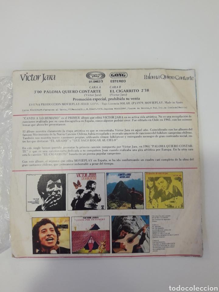 Discos de vinilo: Victor Jara - single vinilo PROMO Paloma Quiero Contarte - Foto 3 - 163828777